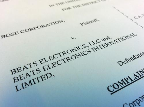 The front page of Bose lawsuit against Beats
