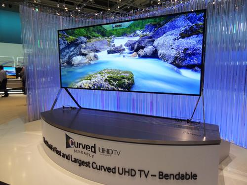 A bendable TV on show by Samsung at IFA in Berlin on September 5, 2014