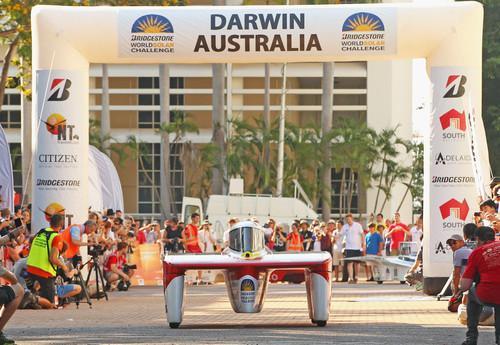 Australia's Arrow-1 solar car at the start line of the World Solar Challenge 2013 in Darwin on Sunday, October 6, 2013.