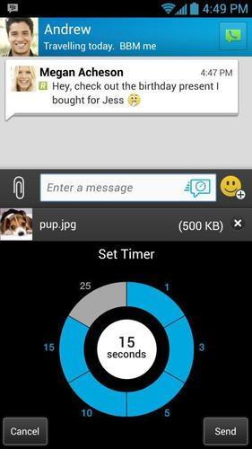 BlackBerry's BBM chat is getting timed messages.