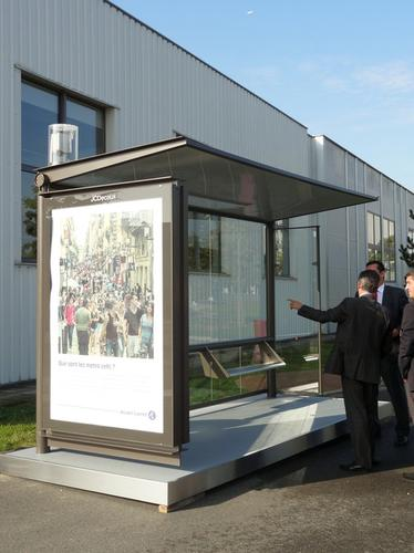 Alcatel-Lucent and JC Decaux are working together to integrate wireless connectivity with street furniture such as this bus shelter shown at Alcatel Lucent's Bell Labs Future X Days exhibition near Paris on Sept. 30, 2014.