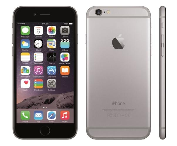 Apple's iPhone 6, available in silver, grey, and gold.