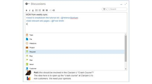 Clarizen v6 now makes it easier to attach action items to discussion forum posts
