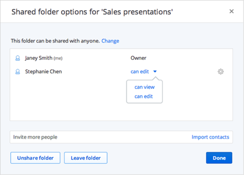 Dropbox for Business users can now share folders with colleagues without necessarily giving them rights to edit their content