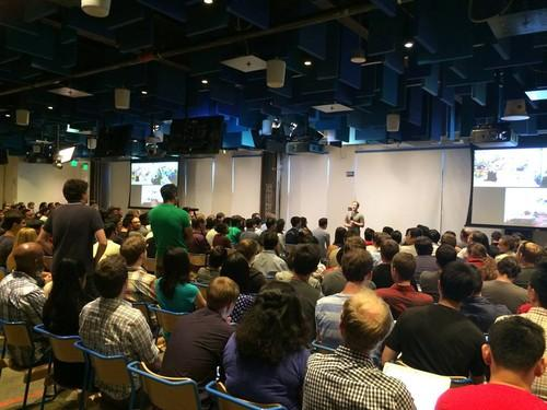 An internal Facebook Q&A with CEO Mark Zuckerberg at company headquarters.