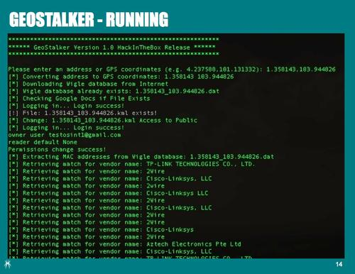 Trustwave researchers also wrote GeoStalker, a Python script that gathers data from web services tagged with certain location coordinates.