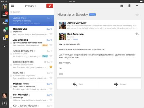 Google has released a new version of its Gmail iOS app with navigation improvements for iPad users