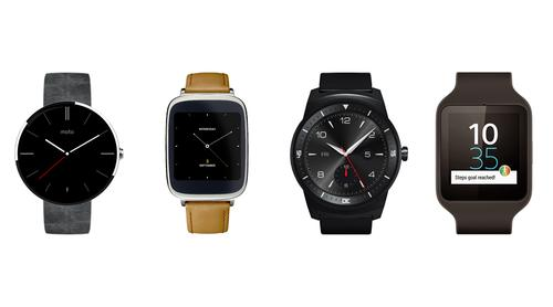 Various smartwatches powered by Google's Android Wear software.