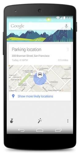 Google Now's mobile software will tell you where it thinks you parked your car.
