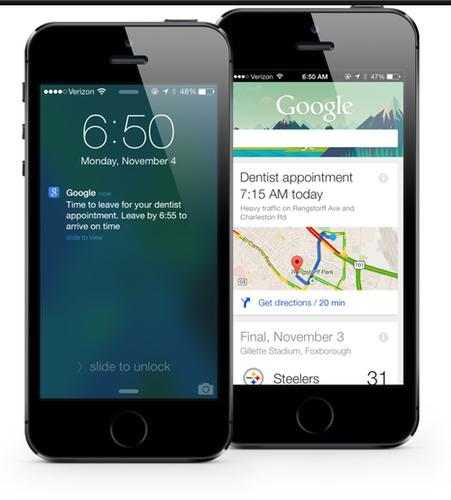 Google's updated search app on iOS, as pictured on Nov. 5, 2013.
