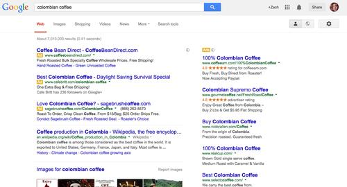 """Google's search results page, as pictured in March 2014, uses a new """"Ad"""" icon to denote advertiser links."""