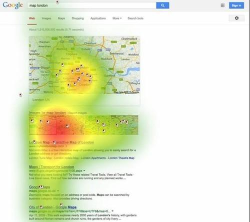 An image from an ICOMP-commissioned study showing how users interact with an alternative search results page proposed by Google as a way to settle an antitrust case brought against it by the European Commission. The image shows mouse clicks (indicated by mouse symbols) and the intensity of visual attention (indicated by red for maximum viewing time, yellow for medium, green for minimal) on the results page of a search for 'map London'.