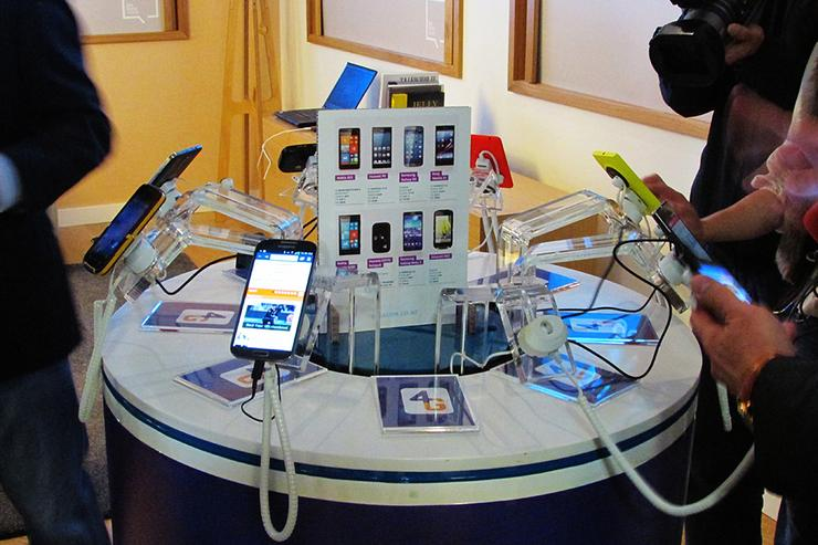 Telecom showcases various 4G-capable devices at its 4G launch event in Auckland this morning.