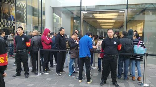 The line outside an Apple store in Beijing for the iPhone 6.