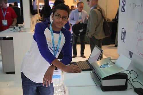 Shubham Banerjee of Braigo Labs with Braigo v2.0 Braille printer