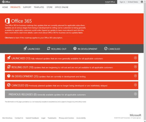 Microsoft launched a public roadmap web page for Office 365