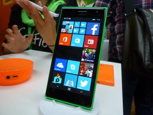 Microsoft's Lumia 830 phone, on show in Berlin on September 4, 2014