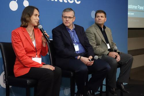 From left, Rebecca Scholl of Xerox, Jim Buczkowski of Ford Motor, and Dean Siegrist of Black & Veatch spoke on an Internet of Things panel at Cisco Systems last week.