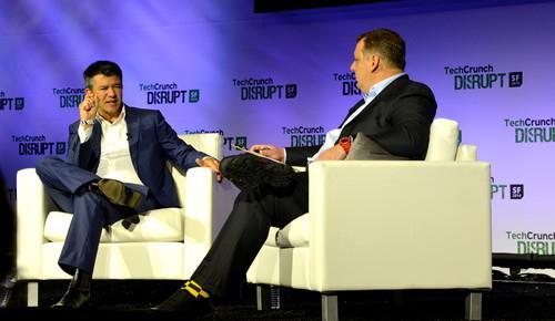 Uber CEO Travis Kalanick speaking at TechCrunch Disrupt Sept. 8, 2014.