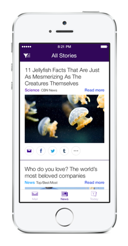 Yahoo's new mail app provides a news stream in addition to mail.
