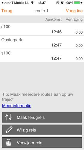 The ADAM app shows travel times voor several alternative routes to home or work