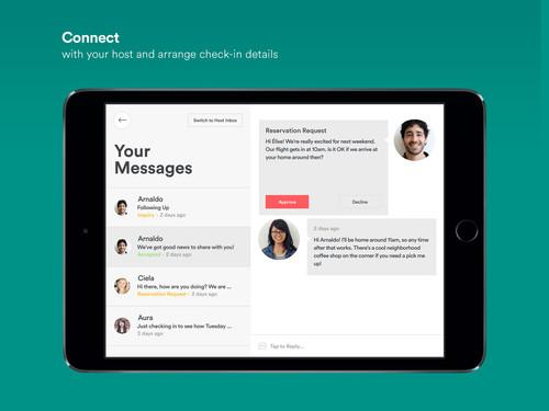 Airbnb's new tablet app also uses a dual-pane view for reading and responding to messages.