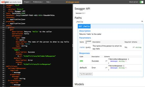 The Apigee API Studio can be used to design, test, and share APIs.