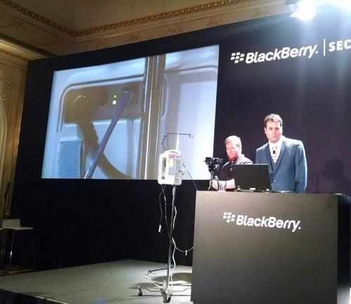 BlackBerry researcher Graham Murphy shows how to hack into an infusion pump, during a demonstration at the BlackBerry Security Summit, July 23, 2015.