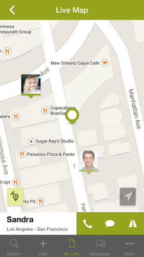 Carpooling's app gives a live view for passengers to see the location of their rides.