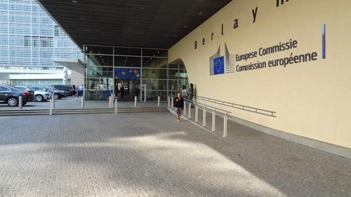 The entrance to the European Commission headquarters in Brussels on June 17, 2015