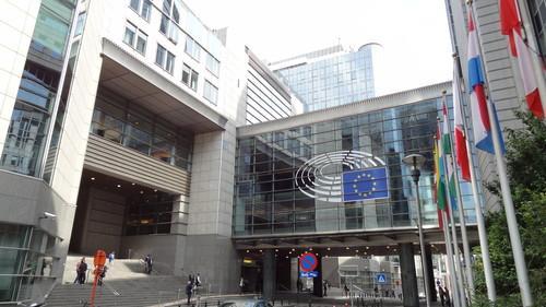 European Parliament logo on a building over Rue Wiertz in Brussels on June 17, 2015