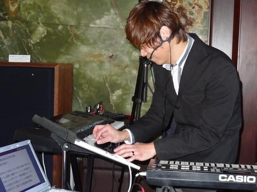 Keyboardist Junichiro Kabayama solos with Casio's CZ App for iPad while playing the original CZ-101 synthesizer during a demo in Tokyo this week.
