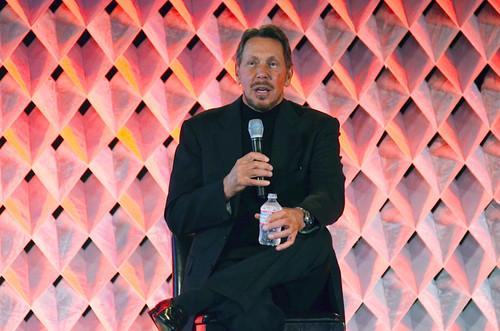 Oracle CEO Larry Ellison speaks at Oracle Cloudworld on Wednesday.