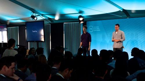Facebook engineers Lars Backstrom (left) and Adam Mosseri, during a talk at the company's F8 conference on March 25, 2015.