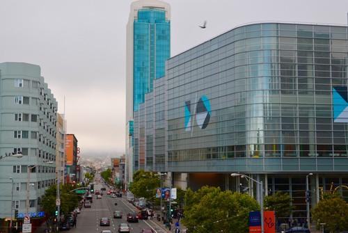 The Moscone Center in San Francisco in May, 2015, right, site of Google I/O.
