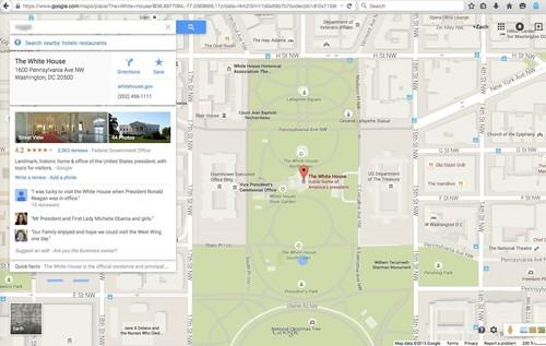 Google Maps, pictured May 20, 2015, lists the White House among top search results for certain queries containing racist terms against African-Americans.