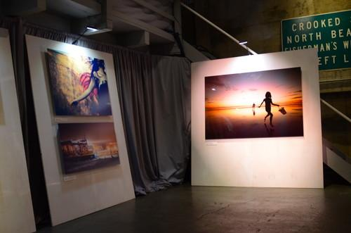 A warehouse in San Francisco was converted into a photo gallery for Google's Google+ event on Oct. 29, 2013.