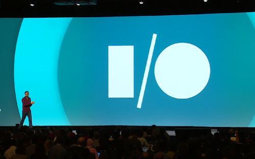 Sundar Pichai onstage at Google I/O 2014