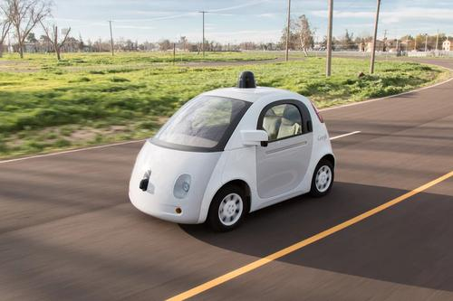 A prototype model of Google's self-driving car, ready to hit the road in 2015.