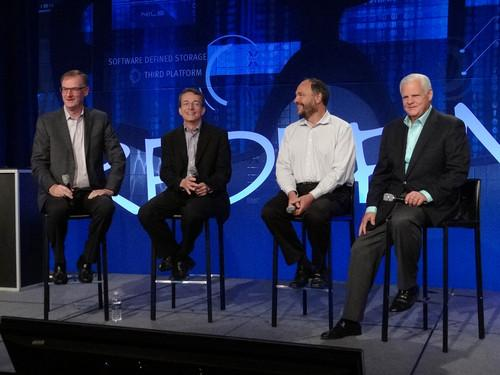 EMC executives at EMC World 2014 on Tuesday. From left, EMC Information Infrastructure CEO David Goulden, VMware CEO Pat Gelsinger, Pivotal CEO Paul Maritz, and EMC Chairman and CEO Joe Tucci.