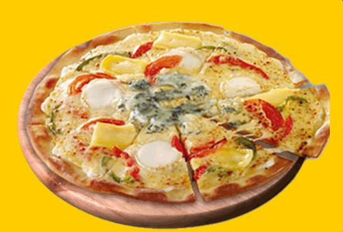 Meet the IE8 Explorer pizza from Speed Rabbit Pizza, with sour cream, mozzarella-cheddar cheese, reblochon cheese, blue cheese, goat cheese, slices of fresh tomatoes and red peppers.