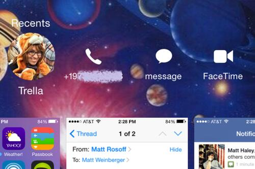 Launching the task manager in iOS 8 brings up a list of recent contacts with one-click access to call, text, or FaceTime them.