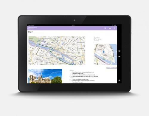 Microsoft OneNote on the Kindle Fire HDX.