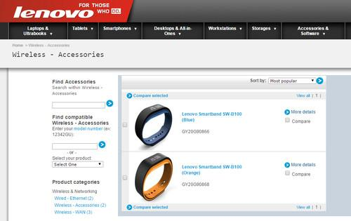 Lenovo has posted information regarding a new smartband product on its website.