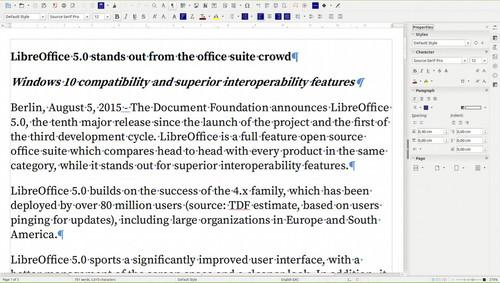 LibreOffice 5's Writer word processor