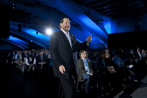 CEO Marc Benioff gives the opening keynote at Salesforce.com's Dreamforce conference Nov. 19