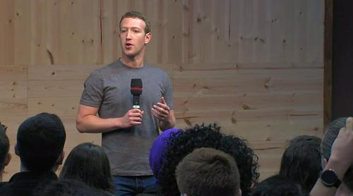 Facebook chief Mark Zuckerberg, pictured Dec. 11, 2014, during a public town hall meeting at Facebook's headquarters.