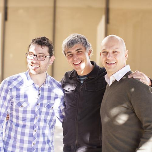 Larry Page with Nest founders Matt Rogers (left) and Tony Fadell (right)