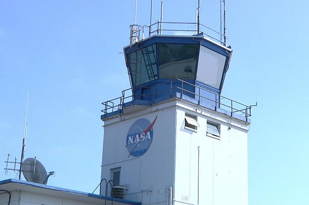 The air traffic control tower at Moffett Field, California, on July 30, 2015.