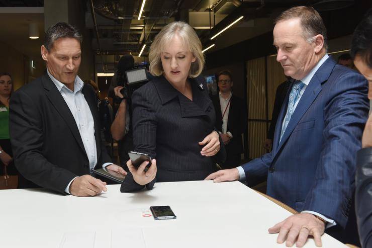 L-R: Vodafone CEO Russell Stanners, Communications Minister Amy Adams and Prime Minister John Key
